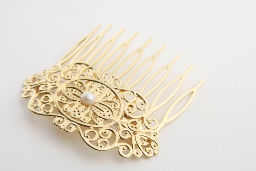 Mariage - Bridal Hair Comb - Gold Hair Accessories - Bridal Gold Hair Accessories - Wedding Hair Jewelry - Wedding Hair pin - Gold head piece