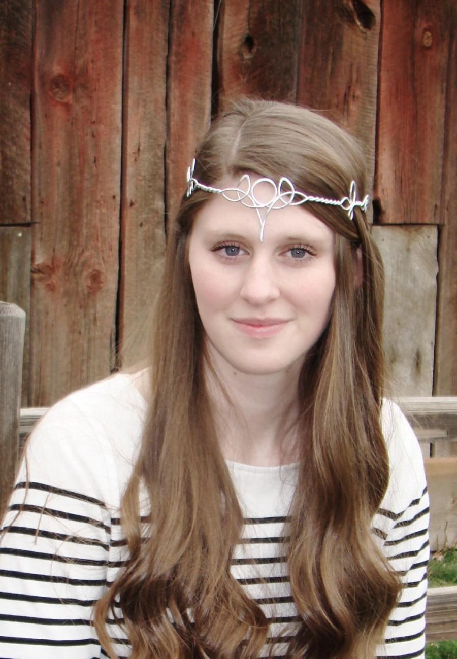 Mariage - Celtic Trinity Moon Circlet - Choose Your Own COLOR - Elven Crown Tiara Headdress