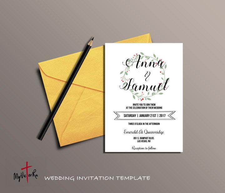 Hochzeit - DIY Flower Wreath Wedding Invitation Template, Wedding Printable, Printable templates, Editable templates, Instant Download, Digital,