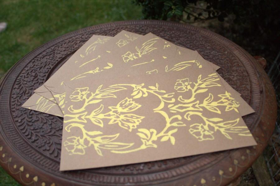 Свадьба - 50 patterned Kraft C5 (A5) envelopes, choice of colours. Eco-friendly recycled 110gsm paper gummed diamond flap. Rustic, vintage, natural.