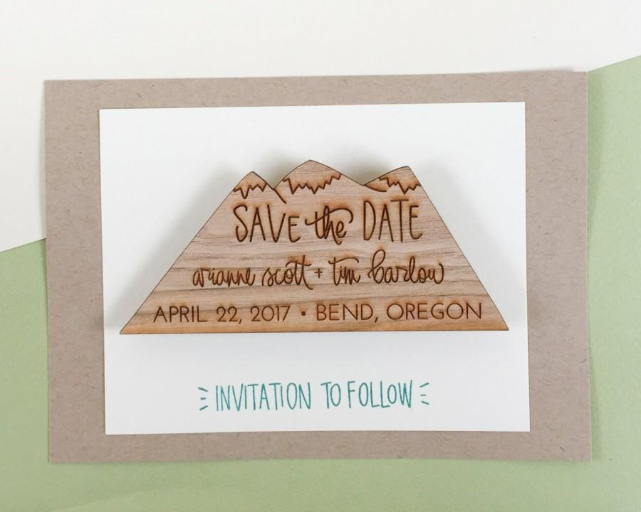Wood Save The Date Magnets Invitations Custom Dates Slice Mountains Camp Wedding S3002