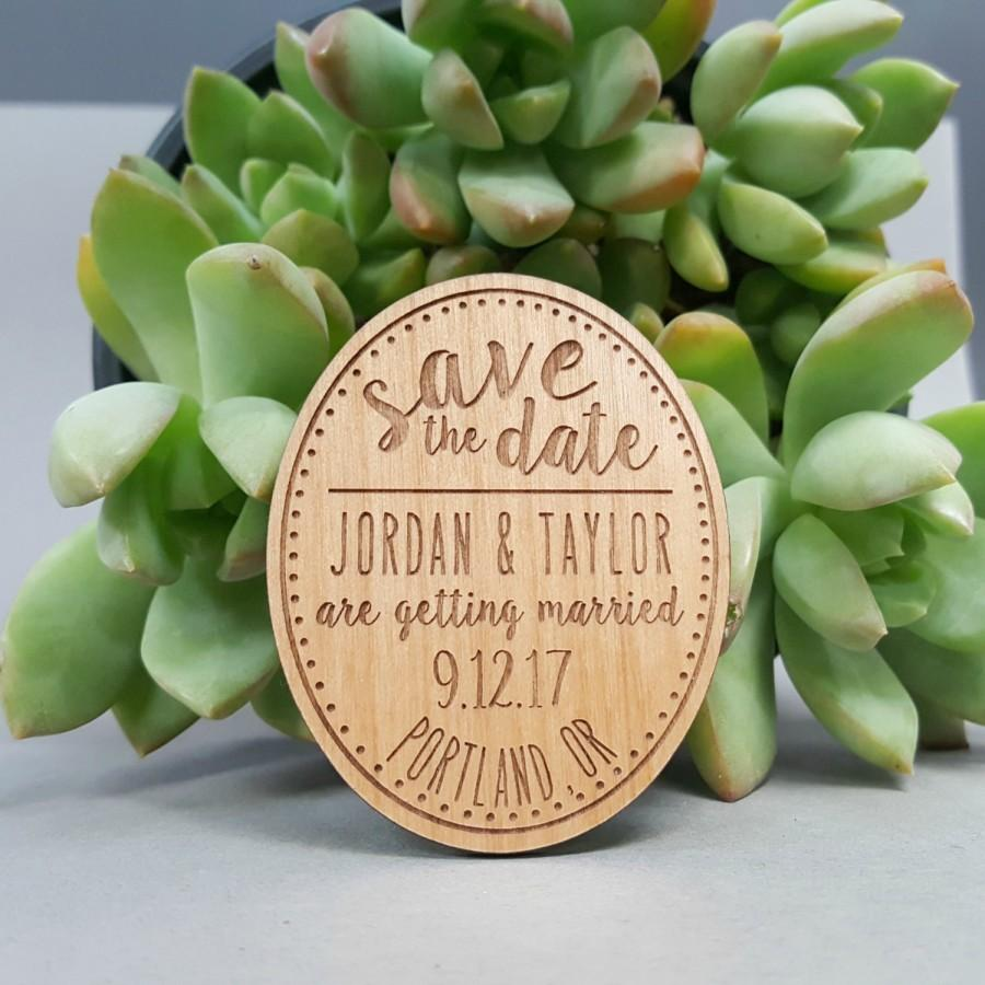 Wedding - FREE US SHIPPING - Wedding Save the Date Magnets - Custom Engraved Wood Magnets