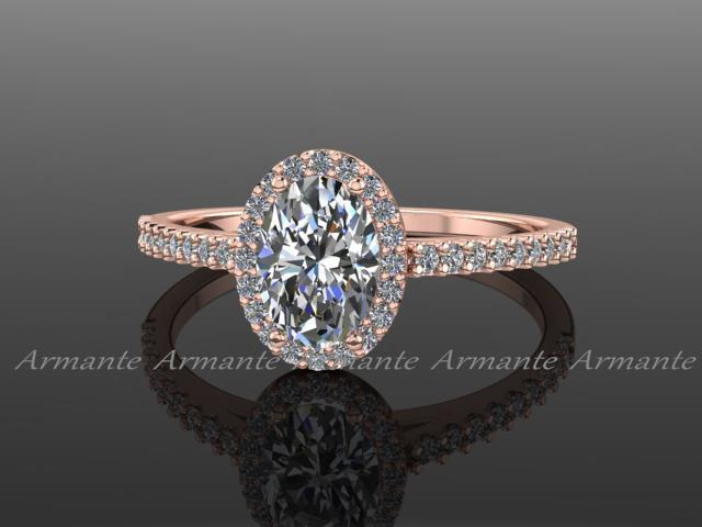 Свадьба - Rose Gold Forever One Oval Moissanite Engagement Ring, 14K Rose Gold Moissanite And Conflict Free Diamond Wedding Ring RE00174W