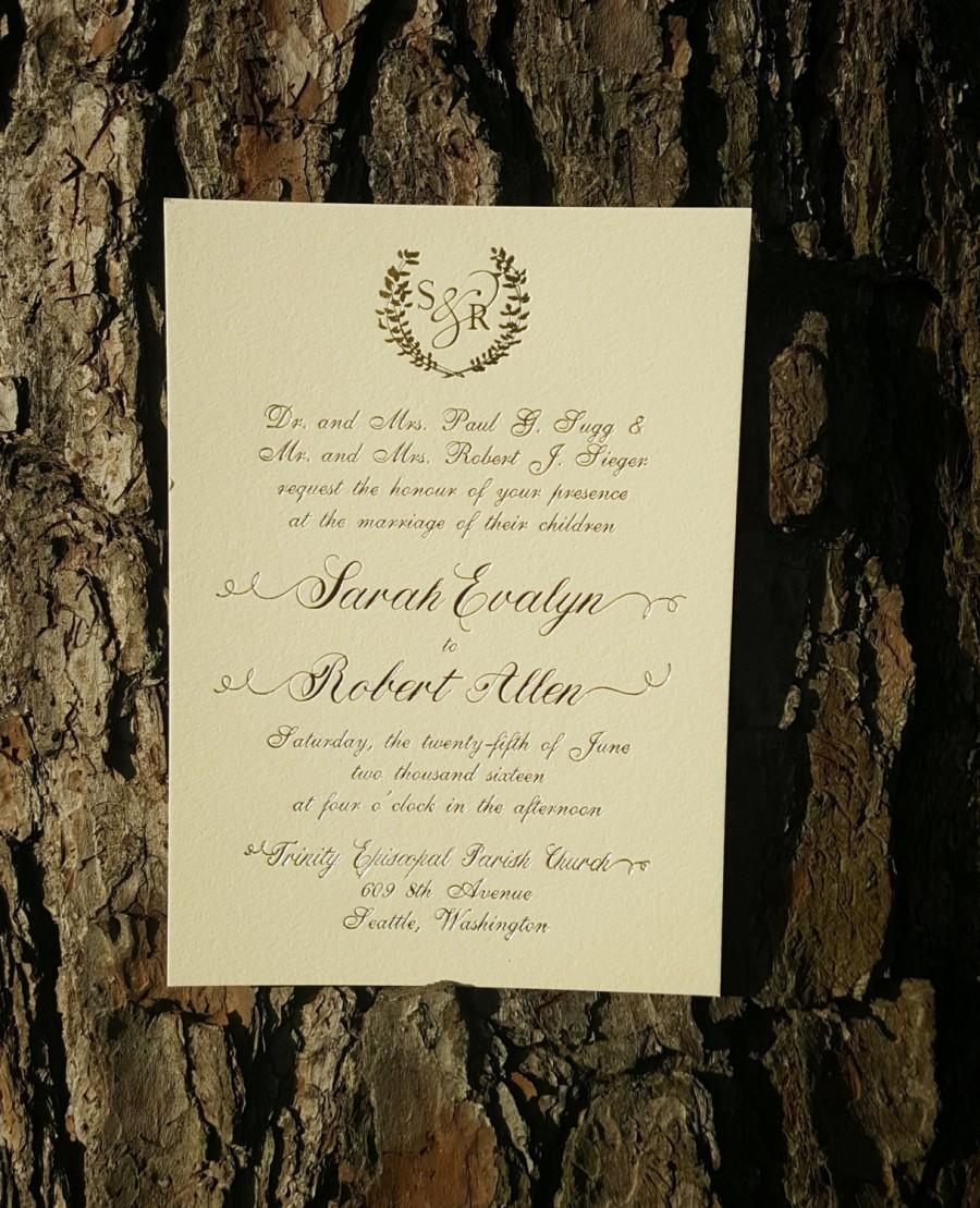 Gold Foil Monogram Wedding Invitation Suite Invitations And Blush