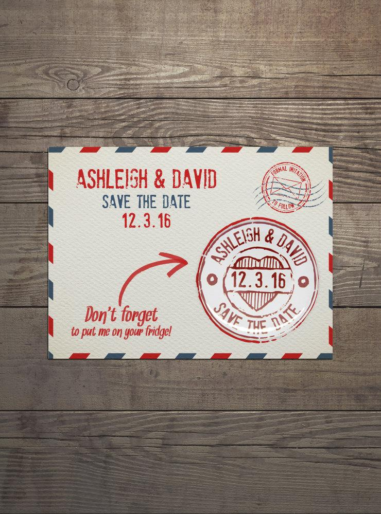 100 X Save The Date Invites With Detachable Round Magnets