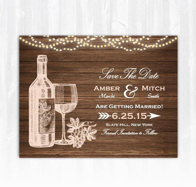 Wedding - Winery Save The Date Magnet or Card DIY PRINTABLE Digital File or Print (extra) Vineyard Save The Date Wine Save The Date Wood