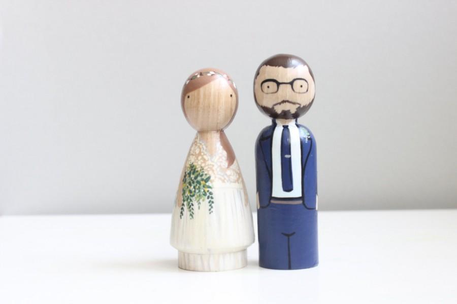 Свадьба - Wedding Cake Toppers Custom Peg Doll Wedding Cake toppers Wooden Dolls Goose Grease