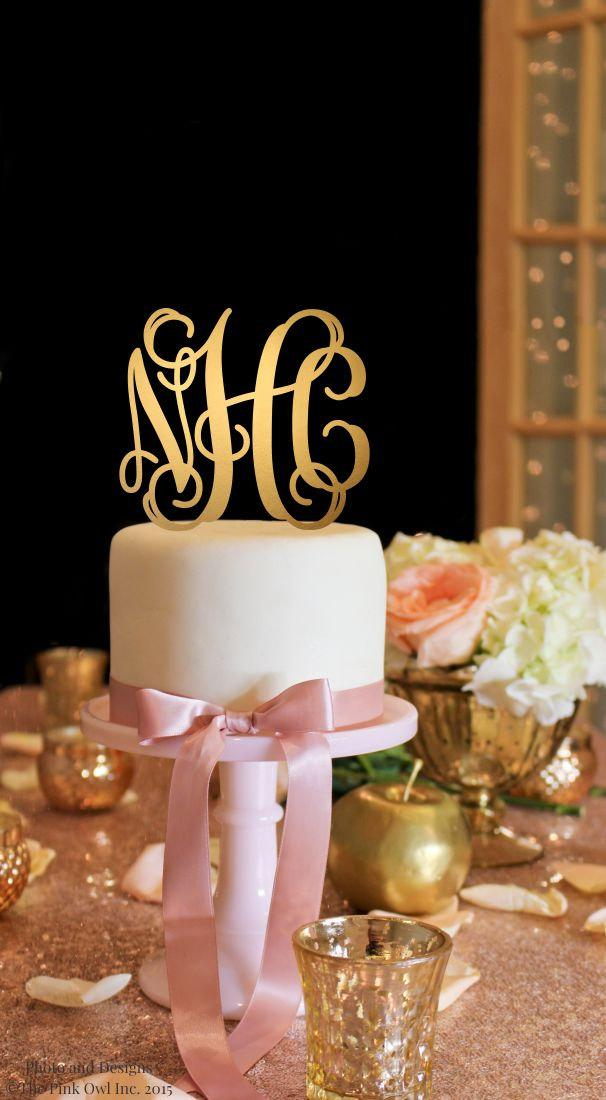 Свадьба - Wedding Cake Topper - Vine Monogram Cake Topper - Gold Cake Topper