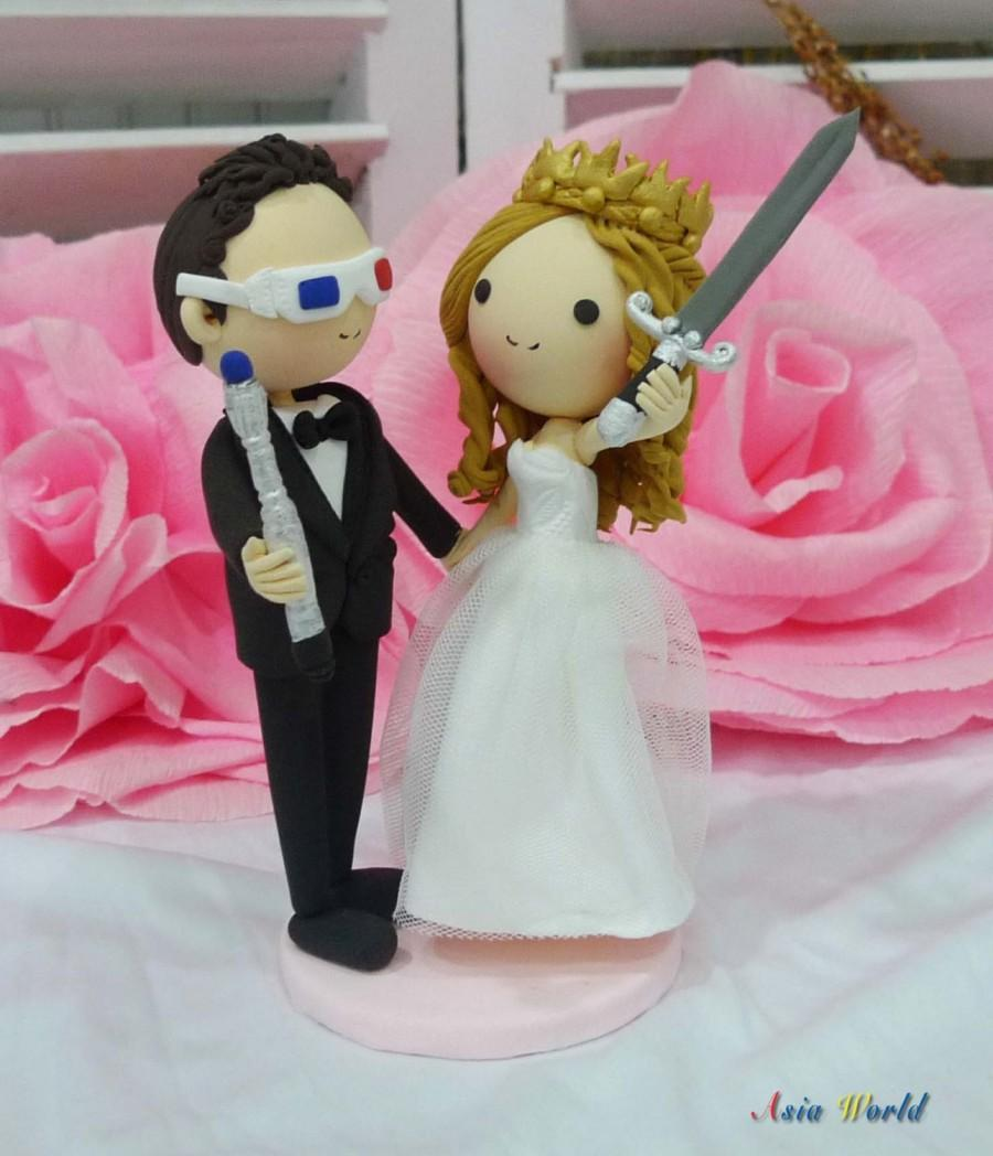 Wedding Cake Topper Clay Doll,groom With Doctor Who\'s Sonic ...
