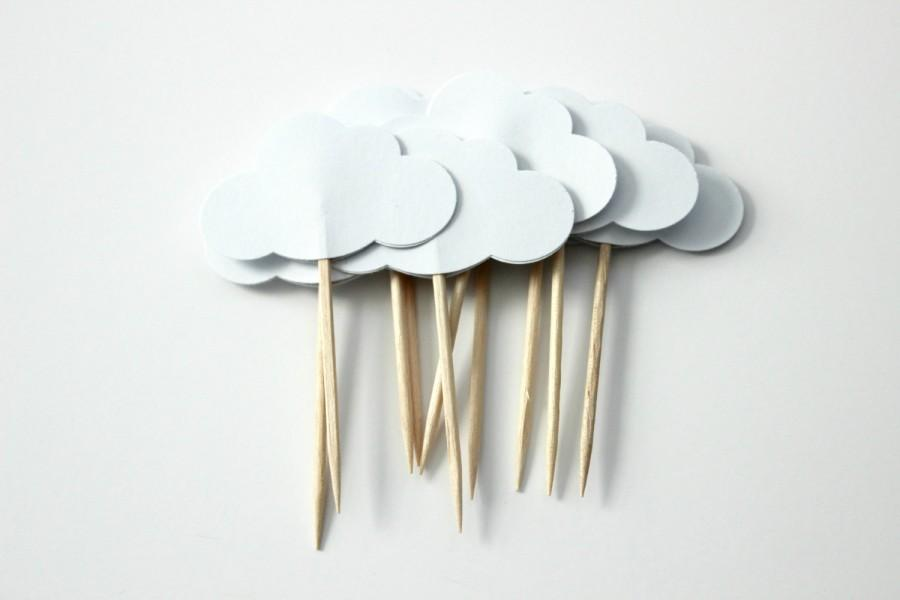 Mariage - White Cloud Cupcake Toppers, Birthday Party, Baby Shower, Party Decor, Double Sided, Set of 12