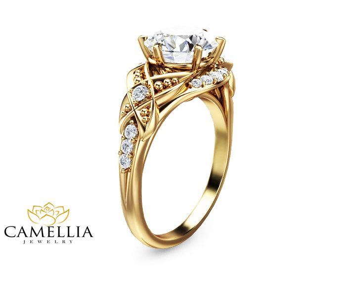زفاف - 2ct Moissanite Vintage Engagement Ring 14K Yellow Gold Engagement Ring Vintage Moissanite Ring