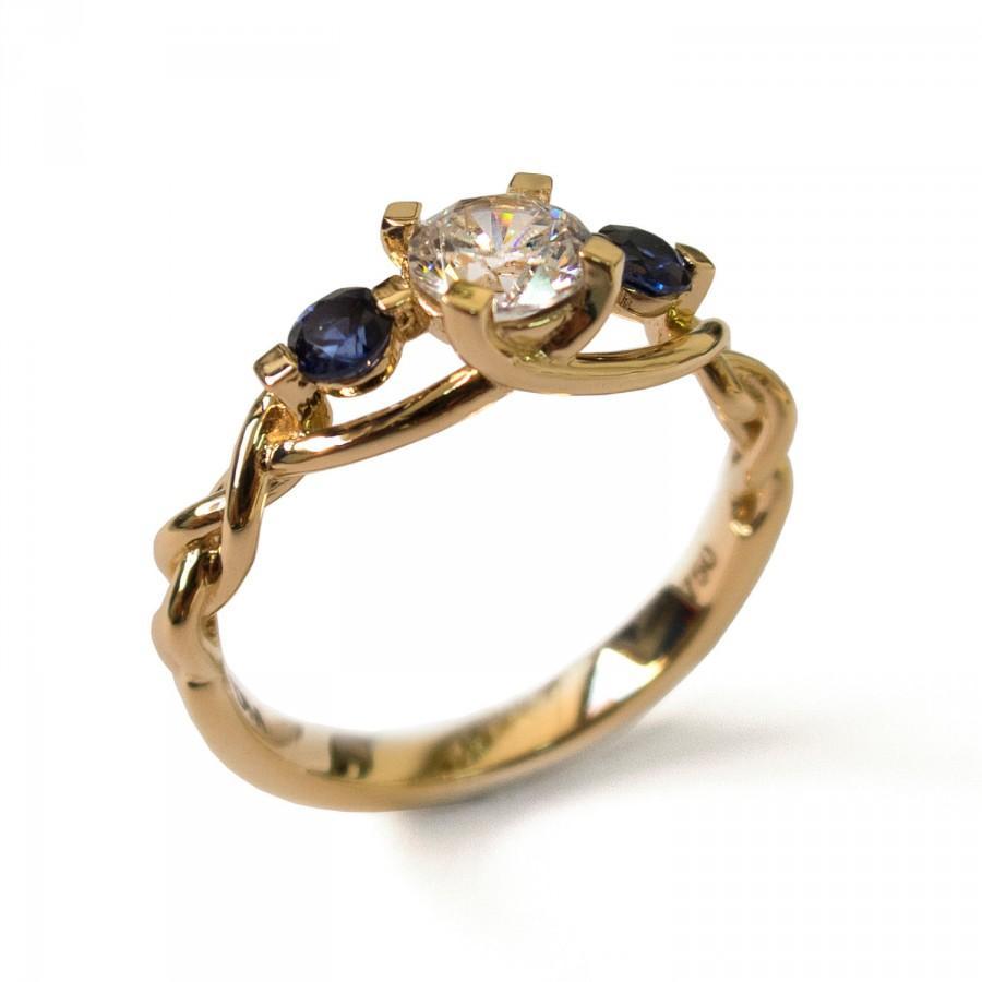زفاف - Blue Sapphire Engagement Ring, Unique Engagement Ring - Moissanite and Sapphires engagement ring, engagement ring, three stone ring, 7