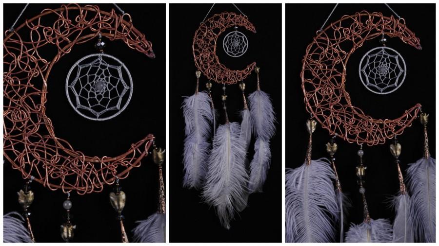 Mariage - Gray Dream Catcher Moon Dreamcatcher Copper dreamcatcher agate smoky dreamcatchers wedding wall decor handmade gift idea Valentine's Day