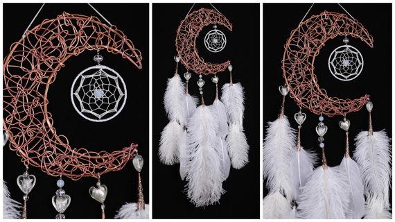 Wedding - White Dream Catcher Moon Dreamcatcher Copper dreamcatcher moonstone dreamcatchers wedding wall decor handmade gift idea Valentine's Day