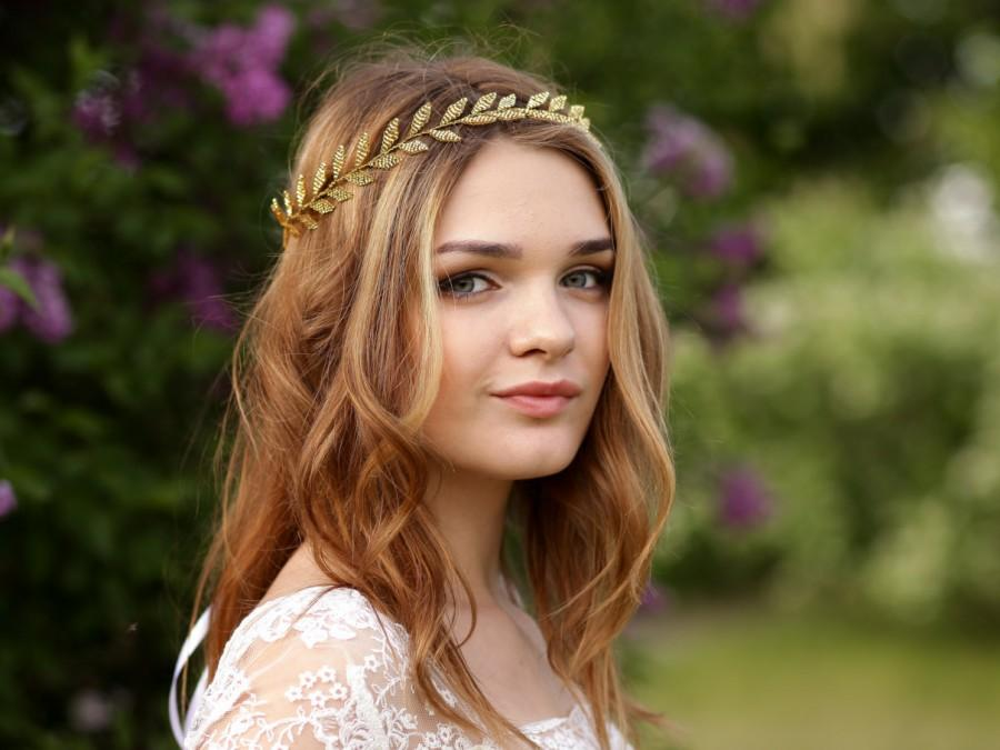 Mariage - Gold leaf hair vine Gold leaf halo Wedding hair vine Gold bridal vine Gold leaf headband Leaf headpiece Gold wedding halo Gold wreath