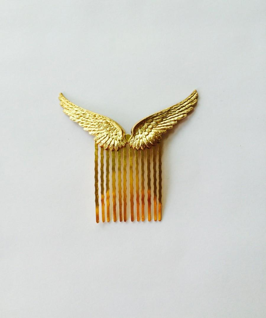 Свадьба - Soldered Gold Wings Hair Comb Wings Hair Pin Bridal Hair Comb Bridal Hair Accessories Angel Wings Bird Wings Costume Hair Pin Gold Hair Comb
