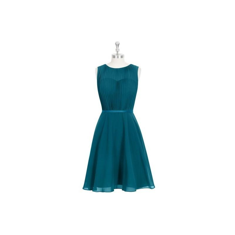 1add48ce9bcdf Ink blue Azazie Mariam - Knee Length Chiffon And Charmeuse Scoop Illusion  Dress - The Various Bridesmaids Store