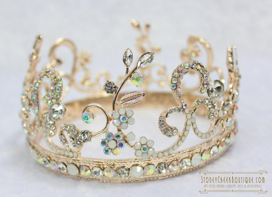 Mariage - Rose Gold Bridal Tiara Wedding Crown, AURORA BOREALIS, Wedding Tiara, Crystal Crown, Rhinestone Tiara, Rose Gold Crown
