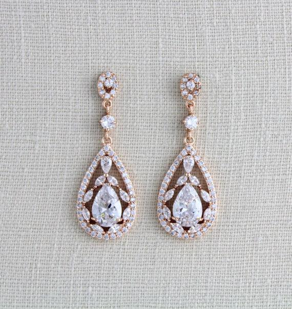 Wedding - Rose Gold Bridal earrings, Wedding jewelry, Crystal Wedding earrings, Chandelier earrings, Statement earrings, Swarovski earrings, Art deco