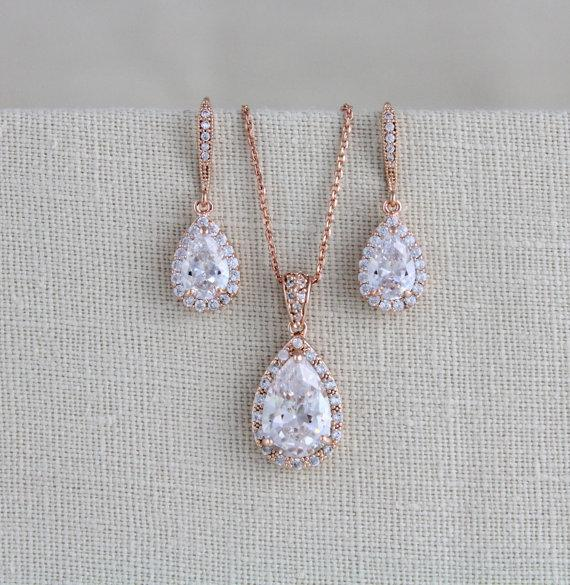Wedding - Rose gold Bridal jewelry
