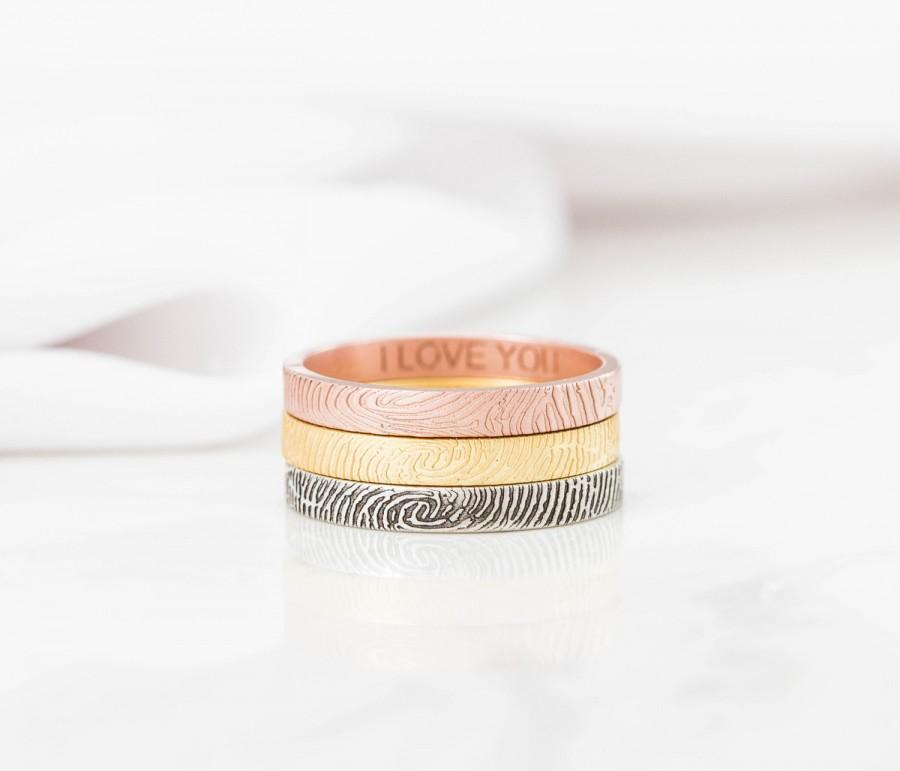 Mariage - 40% OFF- Skinny Fingerprint Ring- Personalized Fingerprint Band - Dainty Fingerprint Rings- Couple Jewelry- Valentines Gift- Mother's Gift