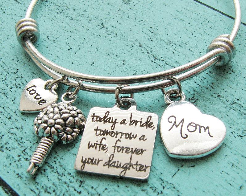 Hochzeit - wedding gift for mom, bridal gift for mom from daughter, mother of the bride gift, today a bride tomorrow a wife forever your daughter