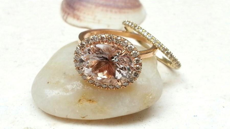 Hochzeit - Engagement Ring Set 14kt yellow Gold 3.85ct Oval Cut Pink MORGANITE and Diamond Halo 0.35ct Wedding Ring Anniversary Band (sold as a set)