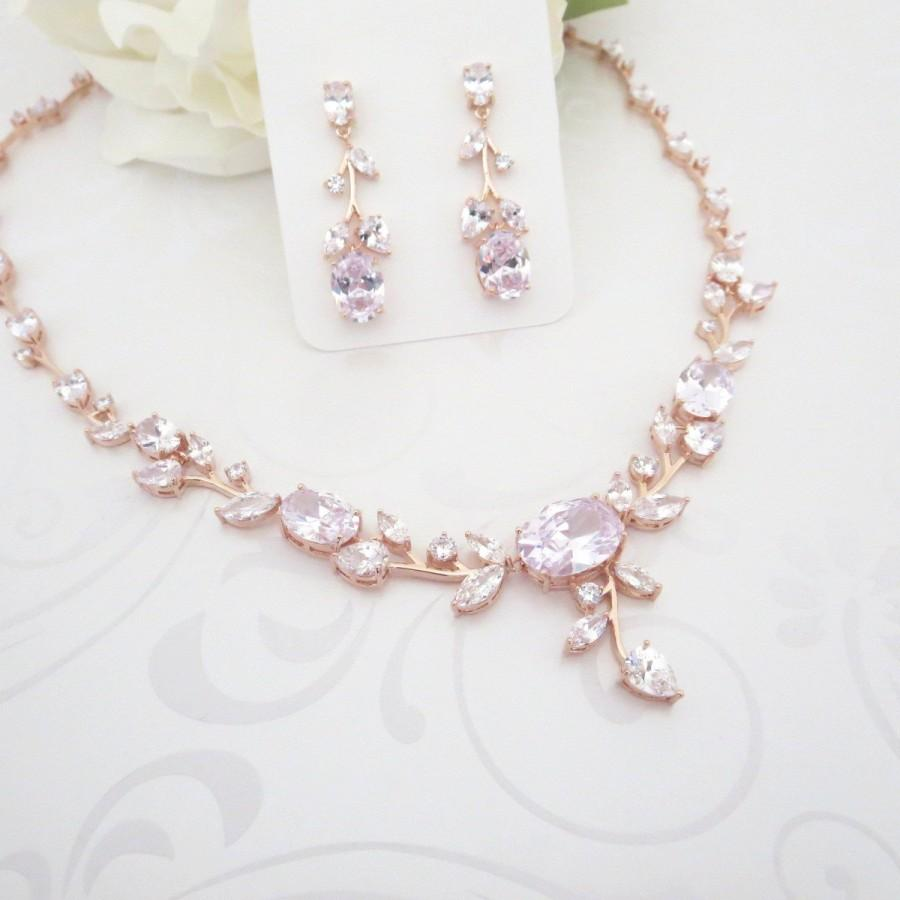 Wedding Jewelry Set Rose Gold Bridal Necklace Earrings Crystal