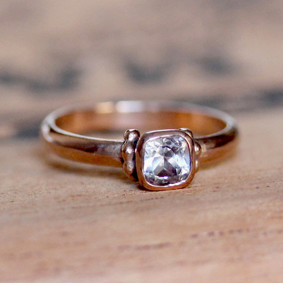 Mariage - Unique rose gold engagement ring, white topaz ring, 14k rose gold ring, rose gold promise ring, pink gold ring, Temple, ready to ship size 6