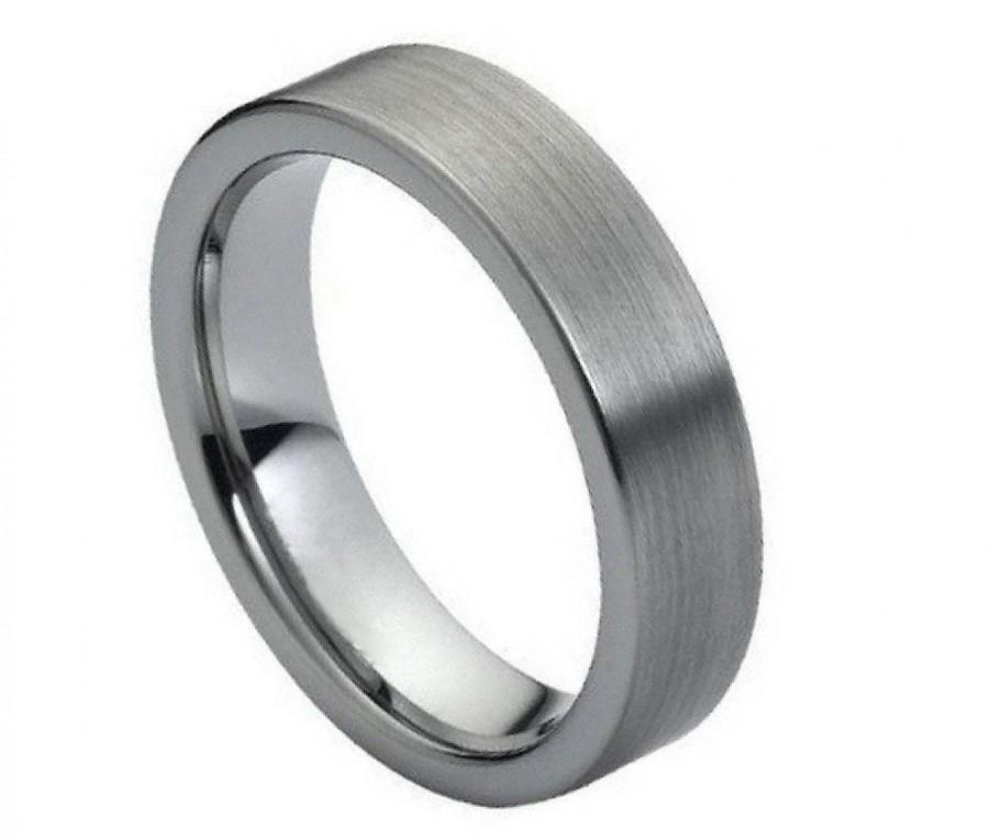 Mariage - FLASH SALE 40% OFF * Mens Grey Flat Brushed Tungsten Carbide Ring, Comfort Fit Band - 6 mm