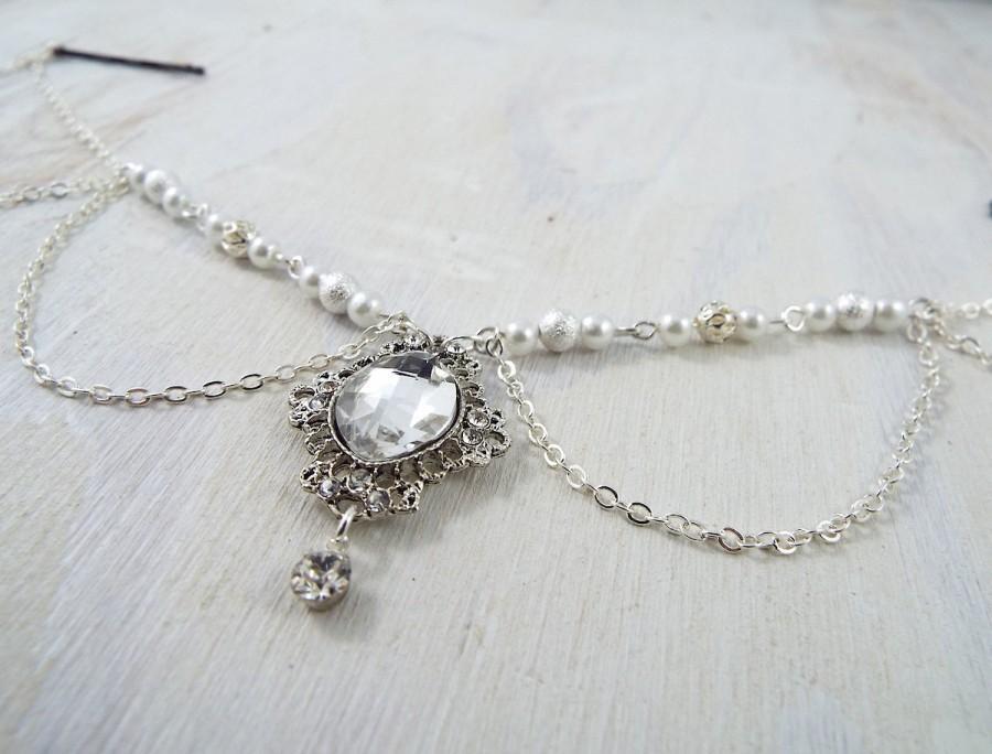 Свадьба - Pearl and Rhinestone Hair Jewelry Wedding Bride Bridal Bridesmaids hair chain head chain headchain bohemian