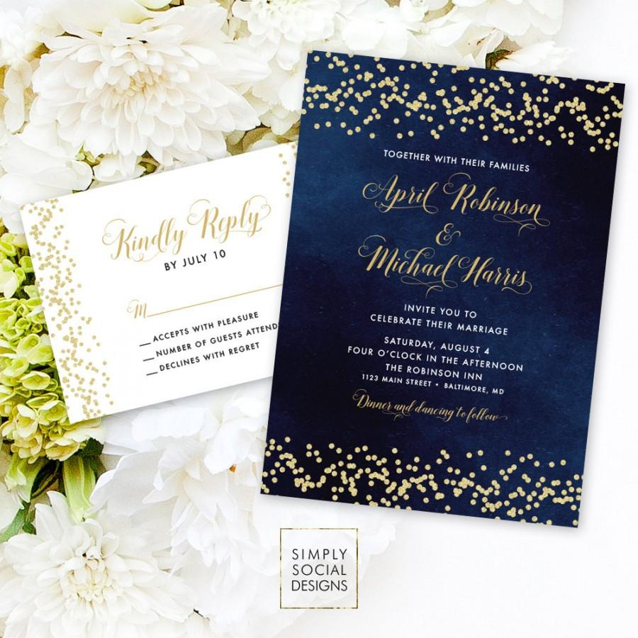 زفاف - Navy Wedding Invitation Suite - Faux Gold Glitter Confetti and Navy Wedding Invitation Reply Card Invitation Printable
