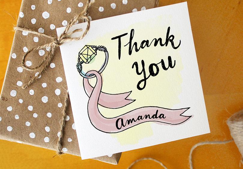 زفاف - Bridesmaid Favor Thank You Card Gift Tag with Calligraphy