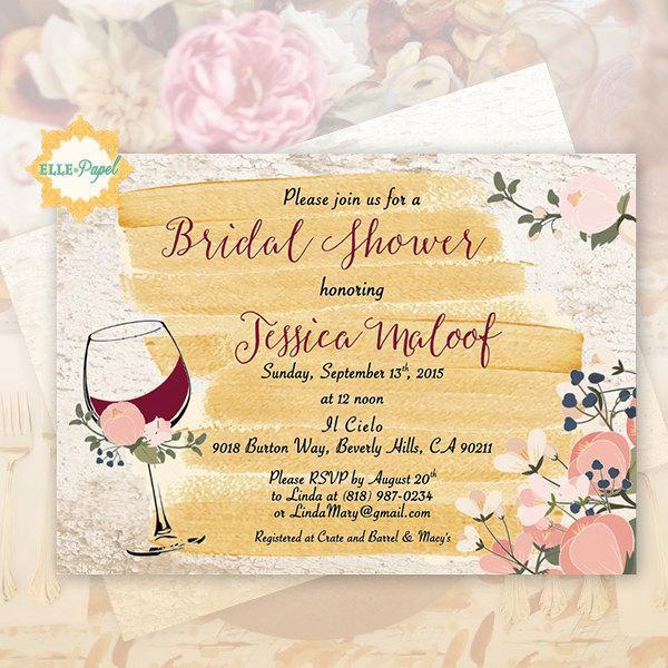Mariage - WINE themed Invitation Bridal Shower Rustic Invite Vineyard Style
