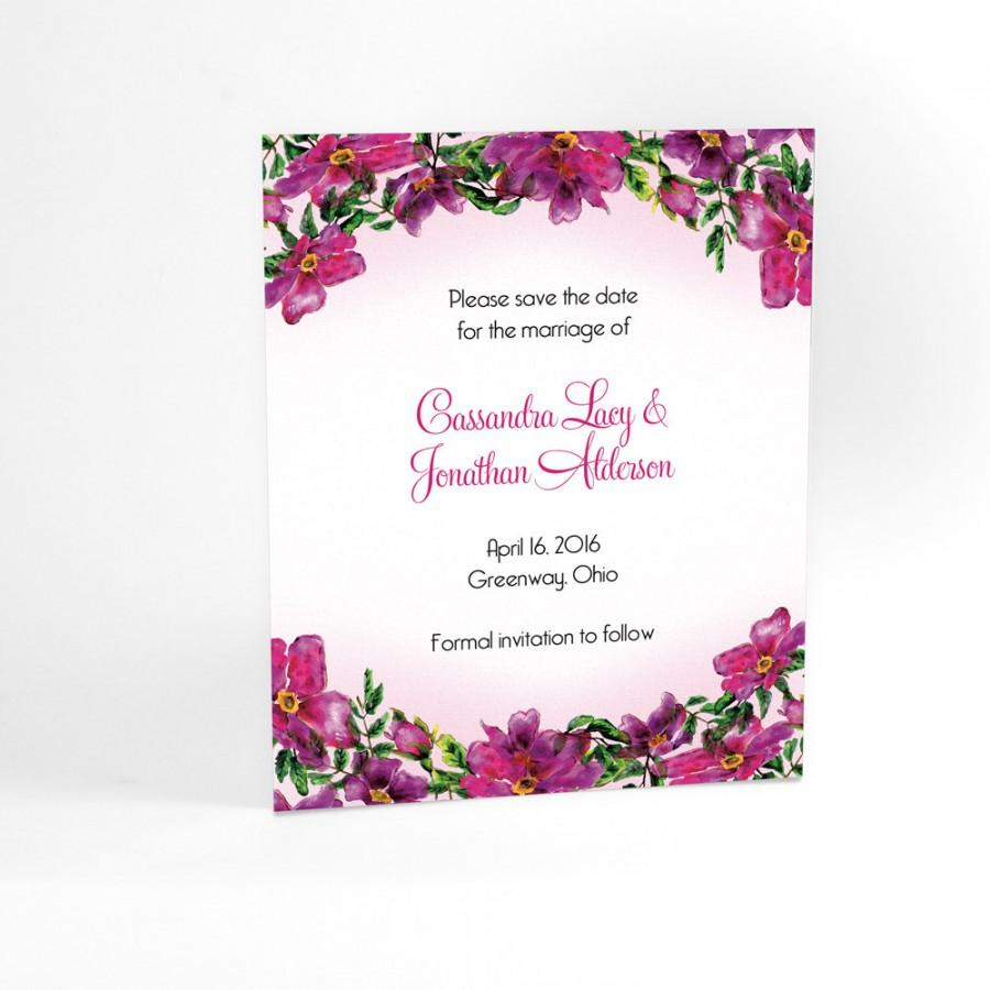 Matching Save The Date And Wedding Invitations: Floral Wedding Save The Date Cards With Watercolor Flowers