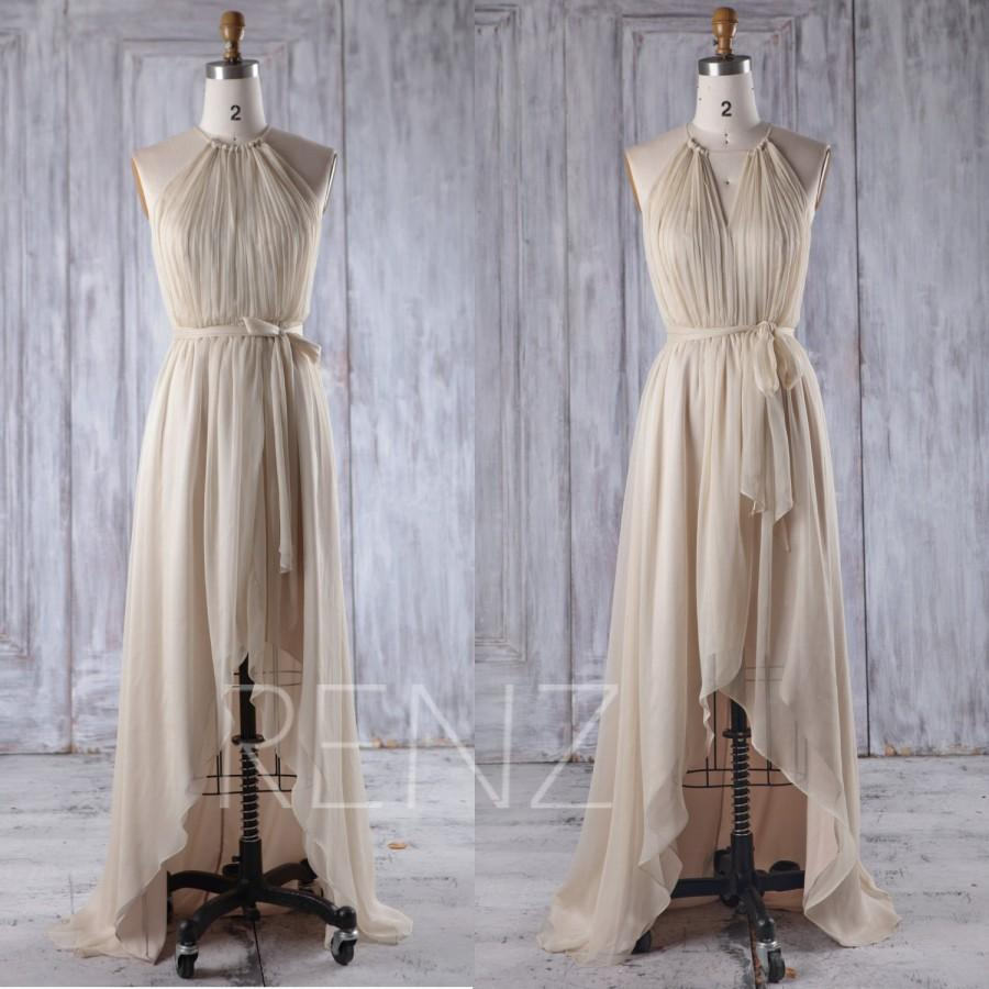 Mariage - 2016 Beige Chiffon Bridesmaid Dress with Convertible Neck, High Low Wedding Dress Belt, Ruched Bodice Prom Dress Floor Length (J196)
