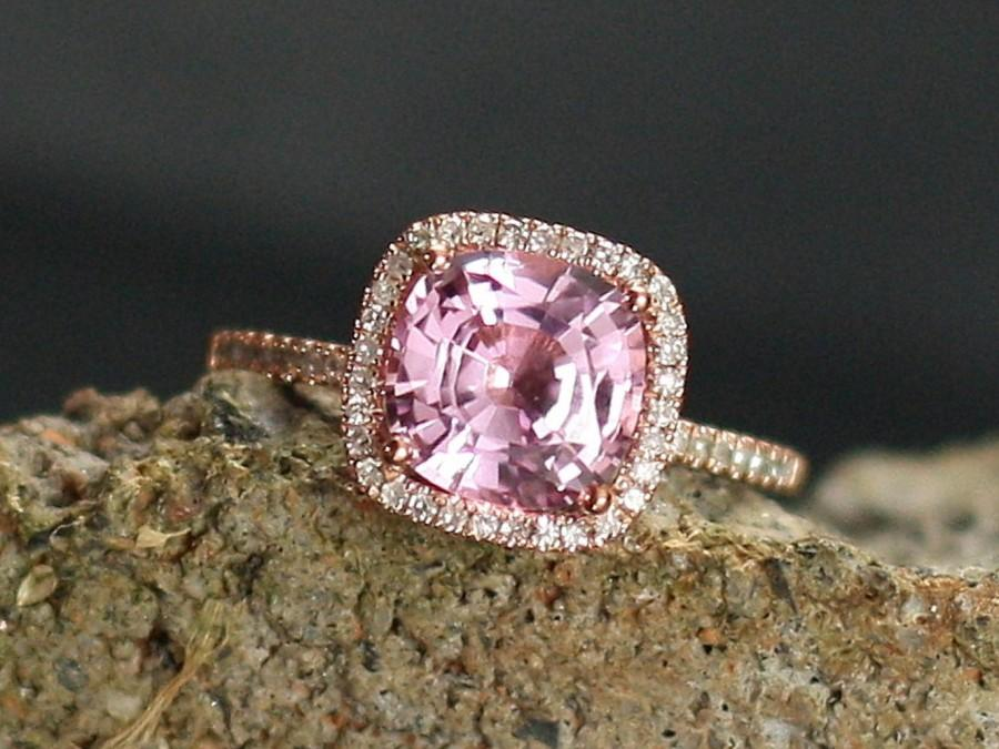 Hochzeit - Pink Sapphire Engagement Ring Cushion & Diamonds Halo 3ct 8mm Cuscino Grand Custom White Yellow Rose Gold 10k 14k 18k Platinum Wedding