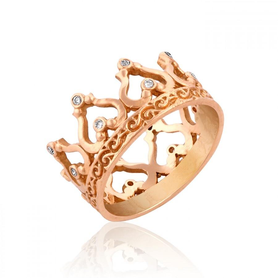 Rose Gold Crown Ring Gift For Her Diamond Crown Ring Crown