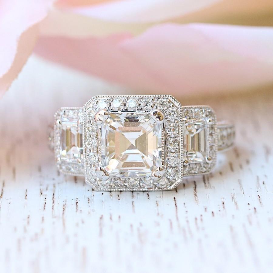 Hochzeit - Guinevere Asscher Cut Engagement Ring
