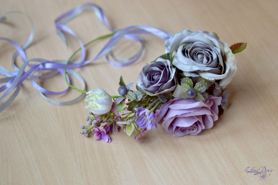 Mariage - Gray purple floral crown Boho head wreath grey Roses wedding halo Flower crown large bridal flower crown Spring wedding Lilac Wedding