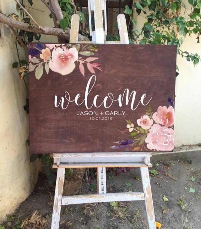 Hochzeit - Welcome wedding sign, rustic wedding sign