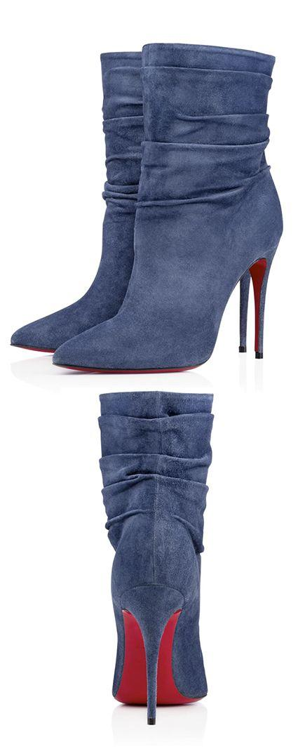 Mariage - Christian Louboutin Blue Suede Booties. Latest Shoes Ideas