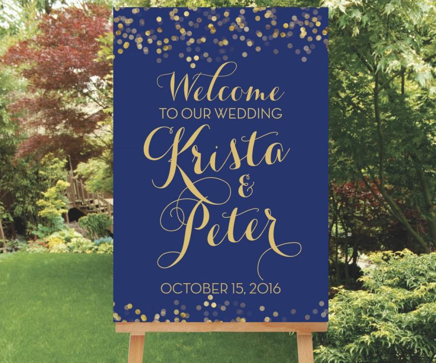 Mariage - Gold Wedding Welcome Sign, Large Welcome Sign, Welcome Shower Sign, Reception Sign, Navy and Gold Party Decor, The Catalina