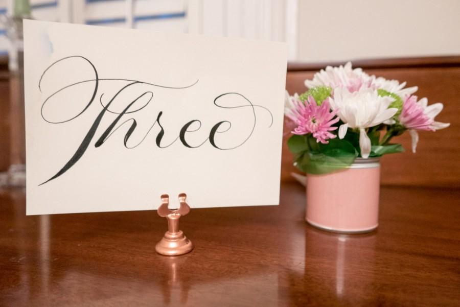 Hochzeit - Set of 12 rose gold table number holders