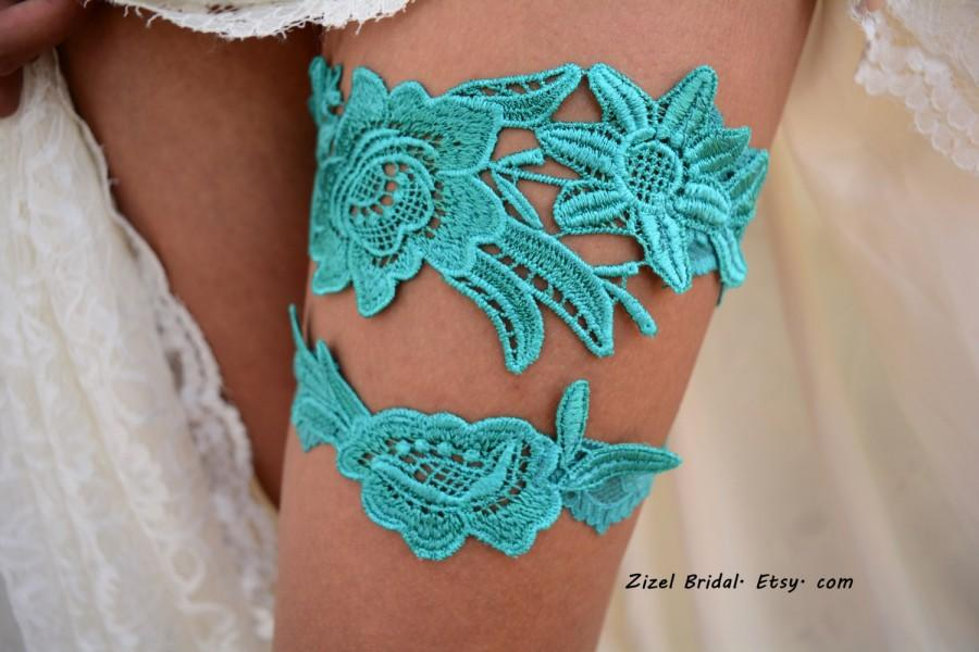 Mariage - Teal Green Garter, Wedding Garter, Teal Wedding Garter, Wedding Garter Set, Green Garter, Wedding Garter Teal, Teal Garters, Lace Garters