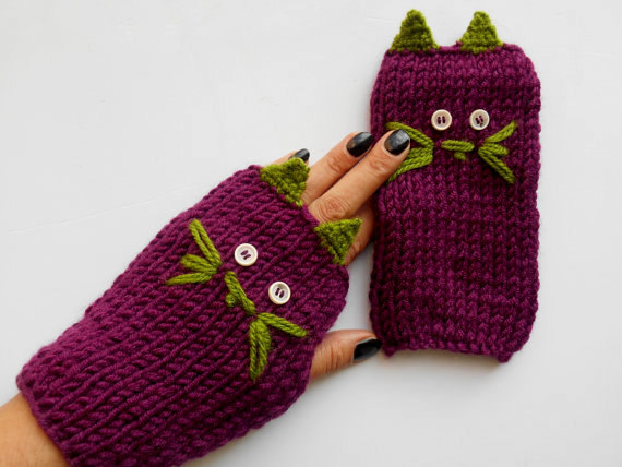 Wedding - Cat's Knitted Gloves, Crochet Cat's Gloves, Fingerless Gloves, Knitted Cat's Gloves, Handmade Gloves, Handheld Warmer, Purple Gloves