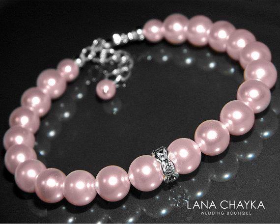 Mariage - Pink Pearl Wedding Bracelet Swarovski Rosaline Blush Pink Pearl Bracelet Bridesmaid Light Pink Pearl Bracelet Pink Pearls Silver Bracelets