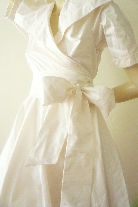Custom Made Maria Severyna Wedding Wrap Dress In White Silk Taffeta Dupioni Mother Of The Bride Available Many Colors
