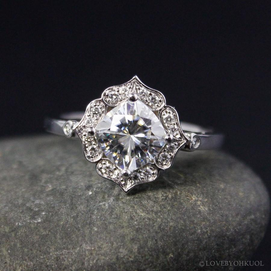 d4a7c404a0a Forever One Moissanite Engagement Ring - Vintage Flower Halo Setting ...