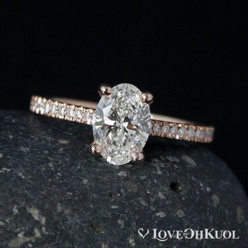 Hochzeit - Rose Gold Oval Brilliant Cut Diamond Engagement Ring - Prong Set Diamond Ring - Pave Diamond Band